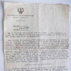Militaria: REGIMIENTO AUTOMOVILISMO ( RESERVA GENERAL) , AÑO 40 . NOTIFICACION . CON FIRMA DEL TTE. CORONEL. Lote 49946960