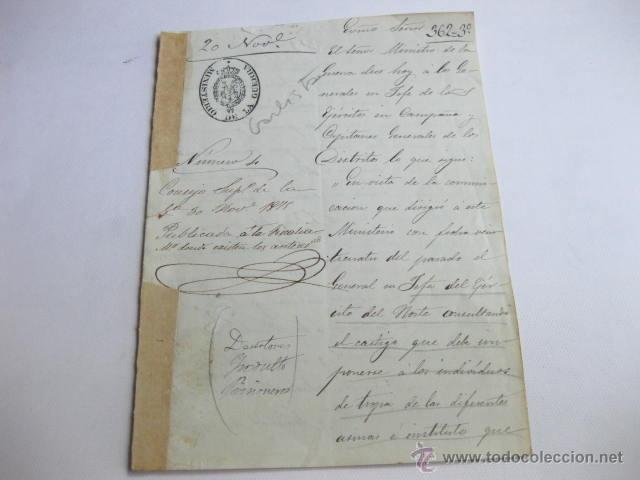 COMUNICACION DEL JEFE DEL EJERCITO DEL NORTE SOBRE EL CASTIGO AL EJERCITO CARLISTA HECHO PRISIONERO. (Militar - Propaganda y Documentos)