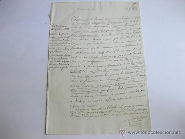 MANDANDO A LOS VIRREYES, CAPITANIAS O COMANDANCIAS DE AMERICA COMIQUEN VACANTES DE MEDICOS. 1818 (Militar - Propaganda y Documentos)