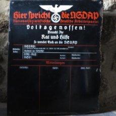 Militaria: MUY RARA ! ORIGINAL CHAPA ESMALTADA DE LA SEGUNDA GUERRA MUNDIAL. HIER SPRICHT DIE NSDAP. 1930-39. Lote 50417625