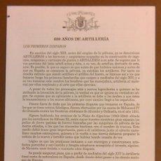Militaria: 600 AÑOS DE ARTILLERÍA. MUSEO DEL EJÉRCITO. ESPAÑA. CUARTILLA. GRABADOS. SIN FECHA (AÑOS 60) NUEVO. Lote 50668953