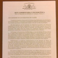 Militaria: ARTE TORMENTARIA Y POLIORCÉTICA. MUSEO DEL EJÉRCITO ESPAÑA. CUARTILLA. GRABADOS. SIN FECHA (AÑOS 60). Lote 50668994