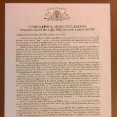 Militaria: CUARTA ÉPOCA. ARTILLERÍA DE RAYADA. MUSEO DEL EJÉRCITO ESPAÑA. CUARTILLA. GRABADOS. AÑOS 60. NUEVO. Lote 50669087