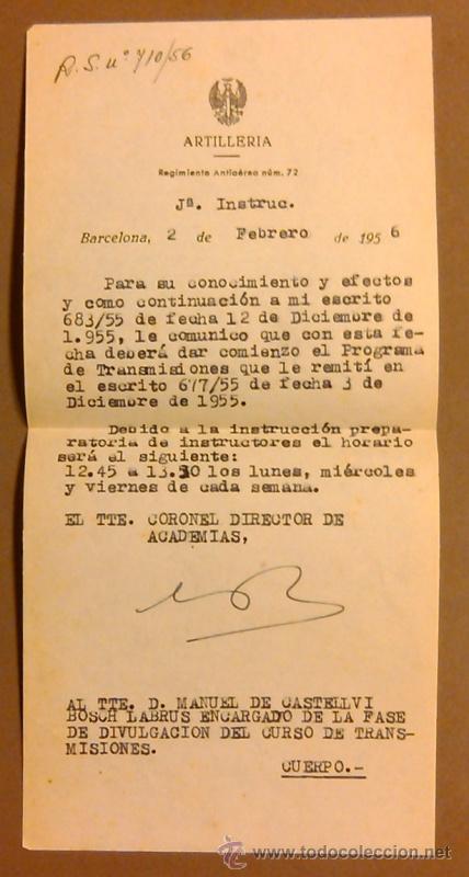 ARTILLERÍA. REGIMIENTO ANTIAÉREO NÚM. 72. INSTRUCCIONES TENIENTE CORONEL A TENIENTE. 1956. ORIGINAL! (Militar - Propaganda y Documentos)
