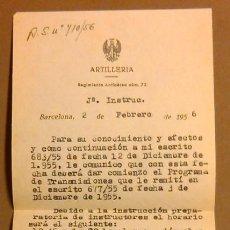 Militaria: ARTILLERÍA. REGIMIENTO ANTIAÉREO NÚM. 72. INSTRUCCIONES TENIENTE CORONEL A TENIENTE. 1956. ORIGINAL!. Lote 50669325