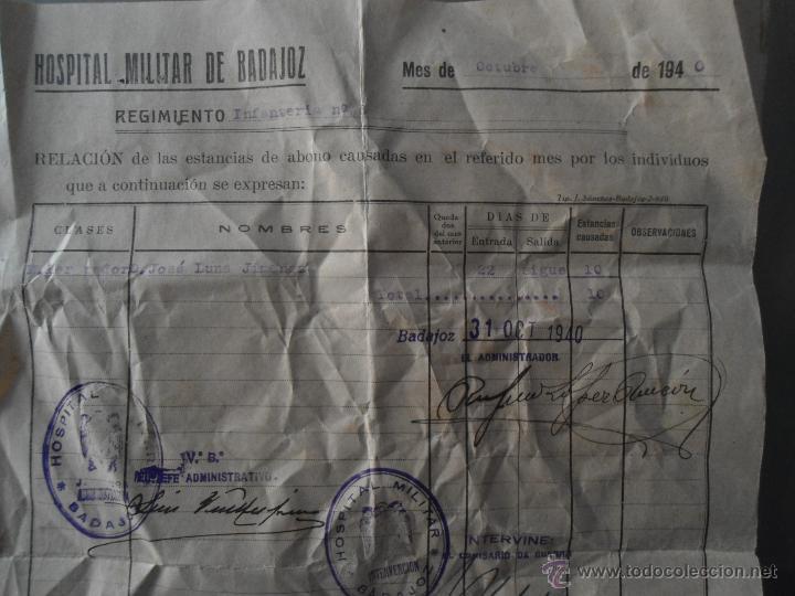 ANTIGUO DOCUMENTO HOSPITAL MILITAR BADAJOZ - AÑO 1940 (Militar - Propaganda y Documentos)