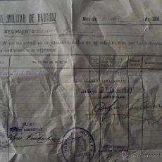 Militaria: ANTIGUO DOCUMENTO HOSPITAL MILITAR BADAJOZ - AÑO 1940. Lote 51371357