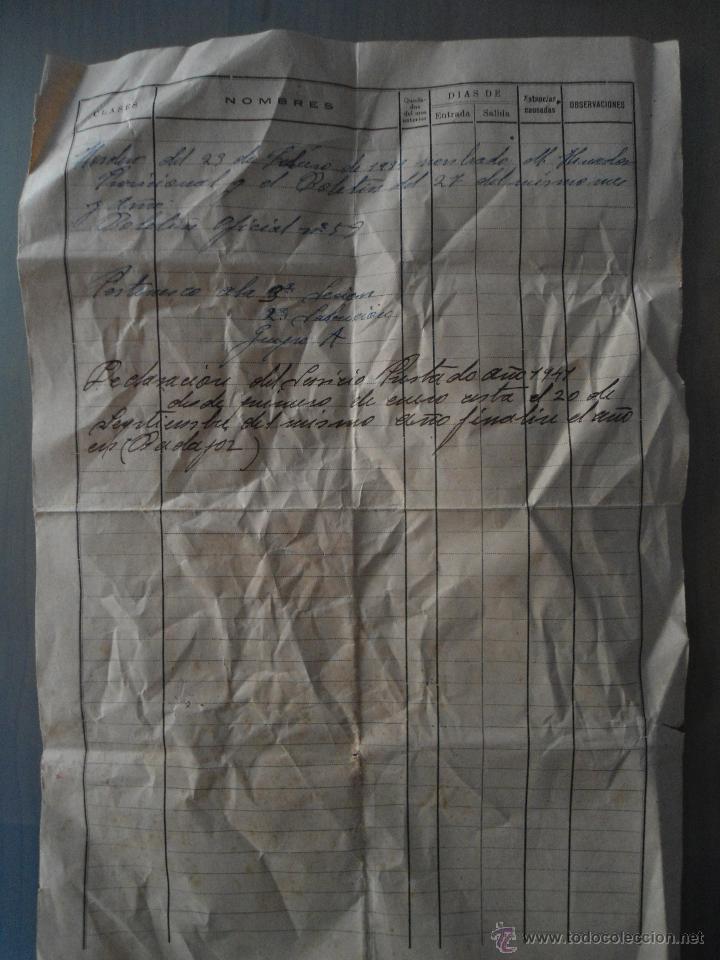 Militaria: ANTIGUO DOCUMENTO HOSPITAL MILITAR BADAJOZ - AÑO 1940 - Foto 3 - 51371357