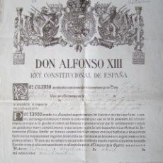 Militaria: AÑO 1924. NOMBRAMIENTO MILITAR FIRMADO POR EL REY ALFONSO XIII Y BERMUDEZ DE CASTRO, MINISTRO GUERRA. Lote 51794198