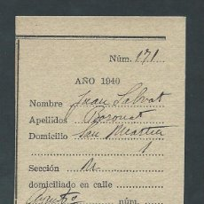 Militaria: RECIBO RESGUARDO DE AUXILIO SOCIAL AÑO 1940 PLATO UNICO. Lote 52024700