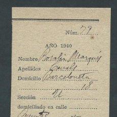 Militaria: RECIBO RESGUARDO DE AUXILIO SOCIAL AÑO 1940 PLATO UNICO. Lote 52024710