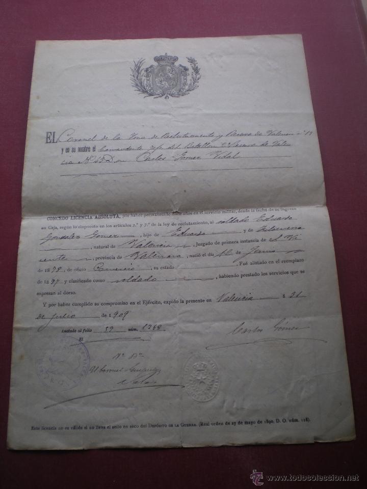 DOCUMENTO MILITAR, LICENCIA ABSOLUTA, VALENCIA, 1909 (Militar - Propaganda y Documentos)