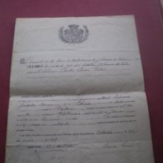 Militaria: DOCUMENTO MILITAR, LICENCIA ABSOLUTA, VALENCIA, 1909. Lote 52318085