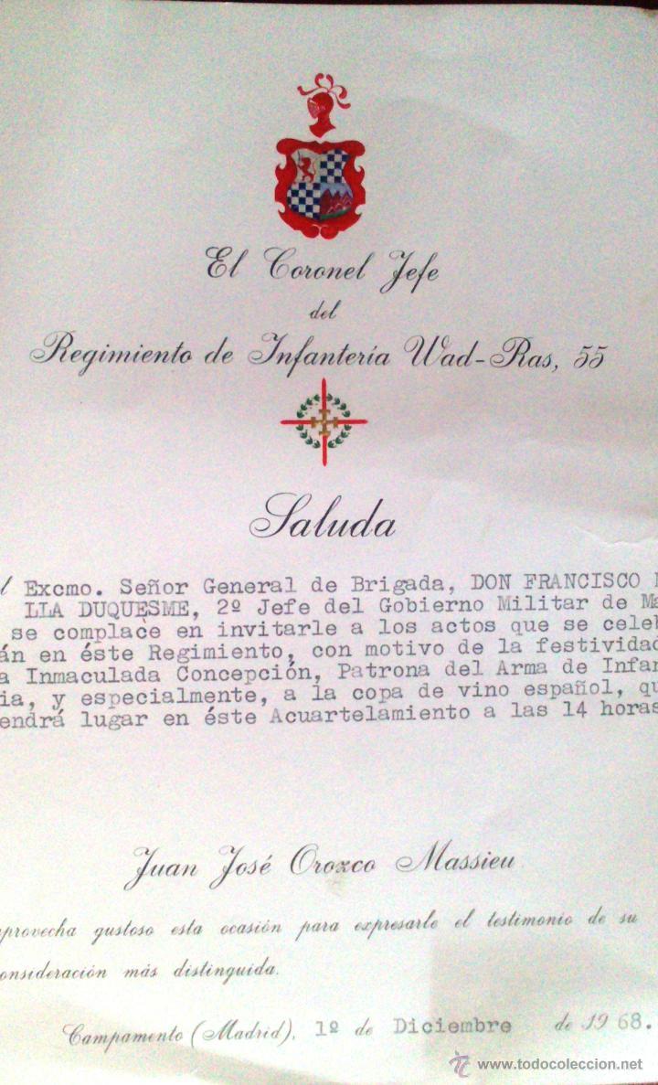 SALUDA, EL CORONEL JEFE DEL WAD RAS, CAMPAMENTO, MADRID, AL GENERAL 2º JEFE DEL GOBIERNO MILITAR VER (Militar - Propaganda y Documentos)