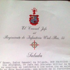 Militaria: SALUDA, EL CORONEL JEFE DEL WAD RAS, CAMPAMENTO, MADRID, AL GENERAL 2º JEFE DEL GOBIERNO MILITAR VER. Lote 52383556