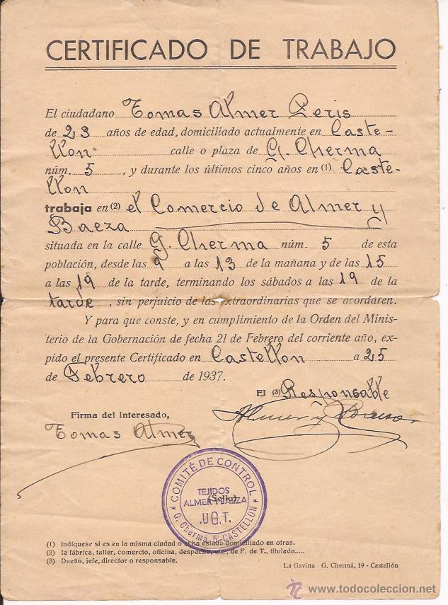 CERTIFICADO DE TRABAJO / SELLADO POR EL COMITÉ DE CONTROL UGT / CATELLÓN 1937 (Militar - Propaganda y Documentos)