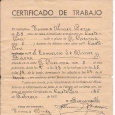 Militaria: CERTIFICADO DE TRABAJO / SELLADO POR EL COMITÉ DE CONTROL UGT / CATELLÓN 1937. Lote 52391116