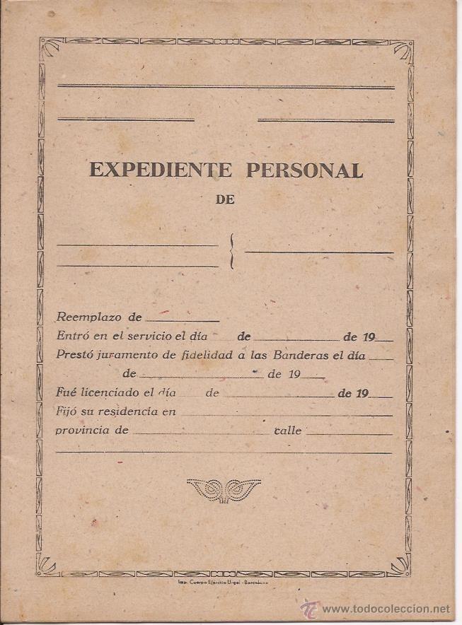 EXPEDIENTE PERSONAL / EN BLANCO / DÍPTICO (Militar - Propaganda y Documentos)