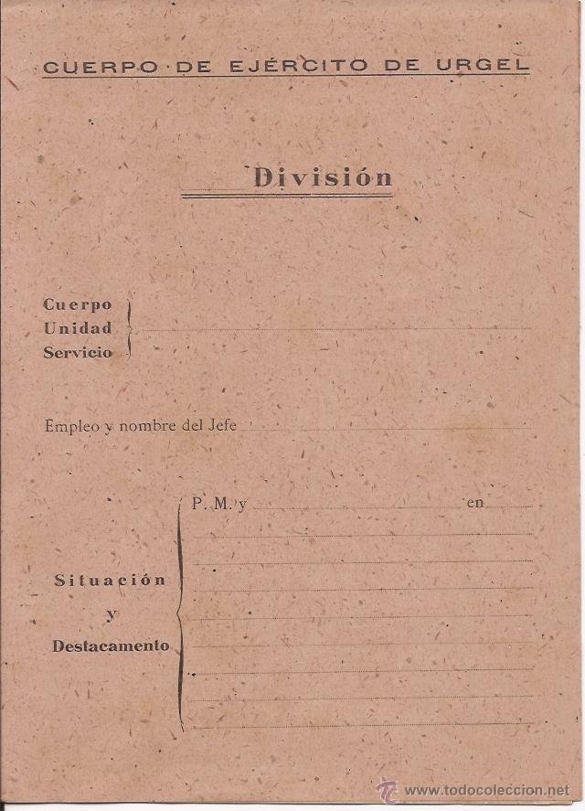 CUERPO DE EJÉRCITO DE URGELL / EN BLANCO / DÍPTICO (Militar - Propaganda y Documentos)