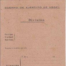 Militaria: CUERPO DE EJÉRCITO DE URGELL / EN BLANCO / DÍPTICO. Lote 52391291
