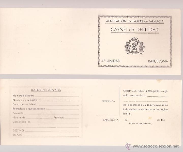 CARNET DE IDENTIDAD / AGRUPACIÓN DE FARMACIA 4ª UNIDAD / SIN USAR (Militar - Propaganda y Documentos)
