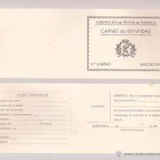 Militaria: CARNET DE IDENTIDAD / AGRUPACIÓN DE FARMACIA 4ª UNIDAD / SIN USAR. Lote 52391468
