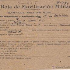Militaria: HOJA DE MOVILIZACIÓN MILITAR / AUTOMOVILISMO Nº 3 DE GUARNICIÓN EN VALENCIA. Lote 52391551