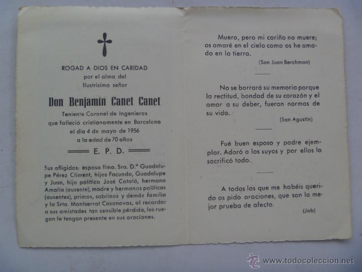RECORDATORIO MUERTE DE TENIENTE CORONEL DE INGENIEROS . BARCELONA, 1956 (Militar - Propaganda y Documentos)