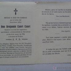 Militaria: RECORDATORIO MUERTE DE TENIENTE CORONEL DE INGENIEROS . BARCELONA, 1956. Lote 52396157