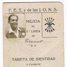Militaria: CARNET MILICIA DE 2ª LINEA -1939 - F.E.T Y DE LAS J.O.N.S - PICASENT - VALENCIA. Lote 52515967