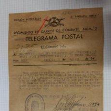 Militaria: DOCUMENTO TAMAÑO CUARTILLA DE LA DIVISIÓN ACORAZADA 1944. Lote 52524195