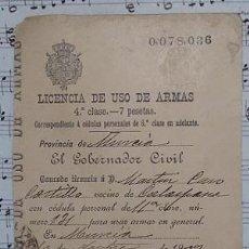 Militaria: CALASPARRA LICENCIA DE USO DE ARMAS 1902 MURCIA. Lote 52616891