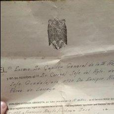 Militaria: DOCUMENTO SERVICIO MILITAR, REGIMIENTO DE GUADALAJARA, 1956, CONCEDO LICENCIA A... NATURAL DE BAÑERE. Lote 52739636