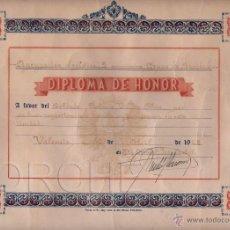 Militaria: 1 DIPLOMA DE HONOR DE LA AGRUPACIÓN LOGÍSTICA,3 - GRUPO DE SANIDAD - VALENCIA 1968. Lote 52771086