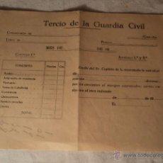 Militaria: ANTIGUO RECIBO MILITAR TERCIO DE LA GUARDIA CIVIL, CA.1920. Lote 52823610