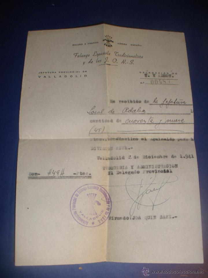 RECIBO DE PAGO,AGUINALDO,PARA LA DIVISION AZUL, DESDE ADALIA (VALLADOLID) AÑO 1941 FALANGE (Militar - Propaganda y Documentos)