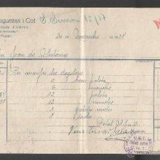 Militaria: UGT-CNT - FACTURA 1938 - TAMPÓN CONTROL OBRERO SINDICATO DE CONSTRUCTORES ALBAÑILES Y PEONES. Lote 52898093