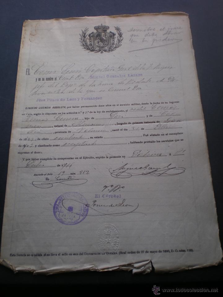 DOCUMENTO MILITAR, LICENCIA ABSOLUTA, JATIVA, VALENCIA, 1911 (Militar - Propaganda y Documentos)