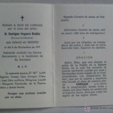 Militaria: RECORDATORIO MUERTE DE CORONEL DE INFANTERIA . MADRID , 1971.. Lote 53498070