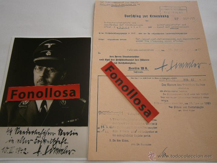 FASCIMIL DOCUMENTO FIRMADO Y FOTO DE H.HIMMLER FIRMADA (Militar - Propaganda y Documentos)