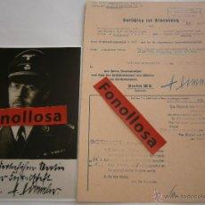 Militaria: FASCIMIL DOCUMENTO FIRMADO Y FOTO DE H.HIMMLER FIRMADA. Lote 151205809