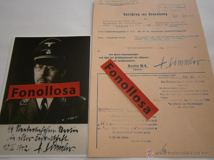 Militaria: FASCIMIL DOCUMENTO FIRMADO Y FOTO DE H.HIMMLER FIRMADA - Foto 2 - 151205809