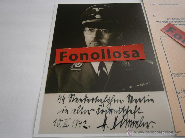 Militaria: FASCIMIL DOCUMENTO FIRMADO Y FOTO DE H.HIMMLER FIRMADA - Foto 3 - 151205809