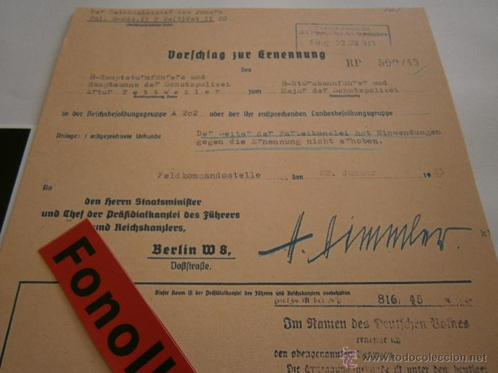 Militaria: FASCIMIL DOCUMENTO FIRMADO Y FOTO DE H.HIMMLER FIRMADA - Foto 4 - 151205809