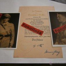 Militaria: FASCIMIL DOCUMENTO FIRMADO Y FOTO DE A.HITLER Y H.GOERING. Lote 70358277