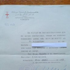 Militaria: CARTA NOMBRAMIENTO DE CONSEJERO LOCAL MOVIMIENTO. FET Y DE LAS JONS EL BALLESTERO ALBACETE. FALANGE. Lote 201515473