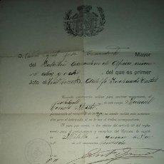 Militaria: MELILLA BATALLON DE CAZADORES DE AFRICA 1928 DOCUMENTO PERMISO MATRIMONIO SOLDADO DE ABARAN MURCIA. Lote 53692033