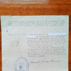 Militaria: ANTIGUO CERTIFICADO DE INCORPORACION VOLUNTARIA Y BUENA CONDUCTA PARA INGRESO EN POLICIA ARMADA. Lote 53726502