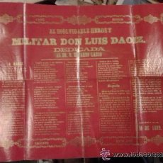 Militaria: CARTELITO GUERRA DE INDEPENDENCIA ESPAÑOLA 1808. HEROE MILITAR DAOIZ EDUDARO LASSO. SAGUNTO. MADRID.. Lote 53785967