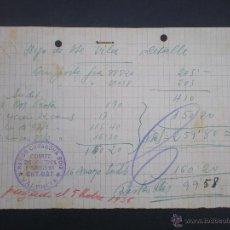 Militaria: DOCUMENTO MANISCRITO, FACTURA, GUERRA CIVIL, COMITE DE CONTROL OBRERO, CNT UGT 1936. Lote 53817638